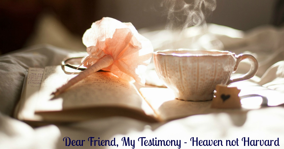 Dear Friend, My testimony is that giving up changed everything in my life and I want you to give up too! Total surrender was my victory.